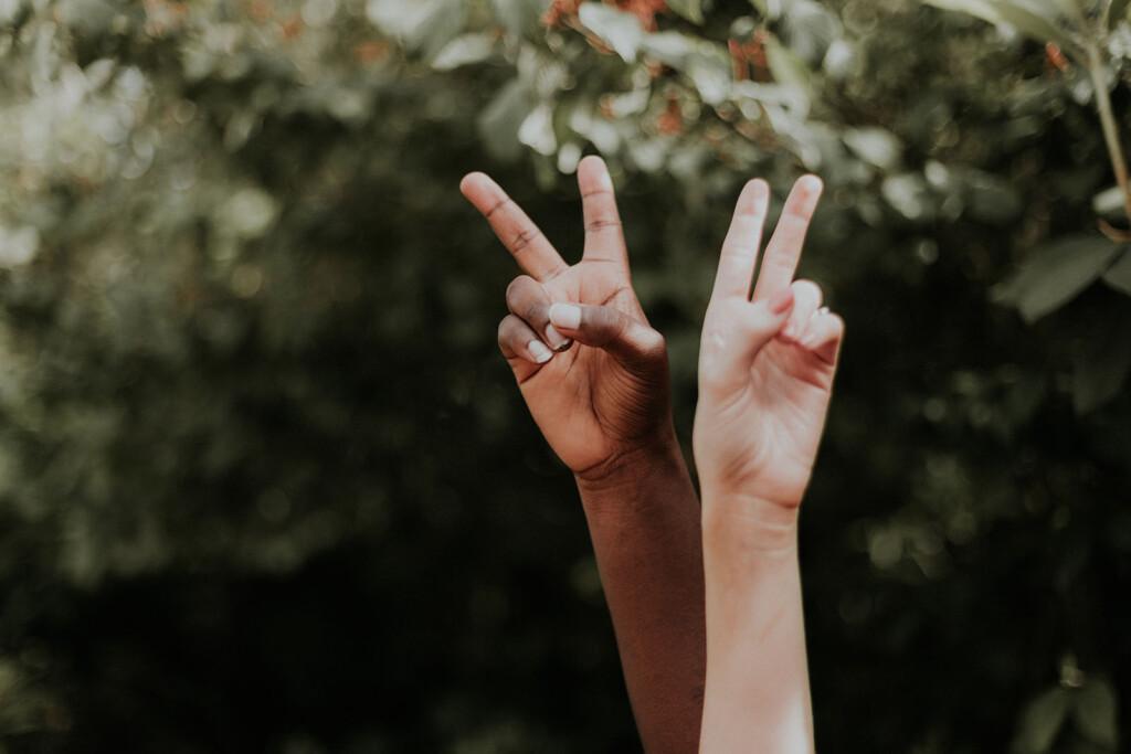 Zwei Hände machen das Peace Zeichen